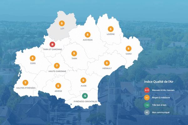 L'indice de qualité de l'air dans le département du Tarn-et-Garonne est très mauvais