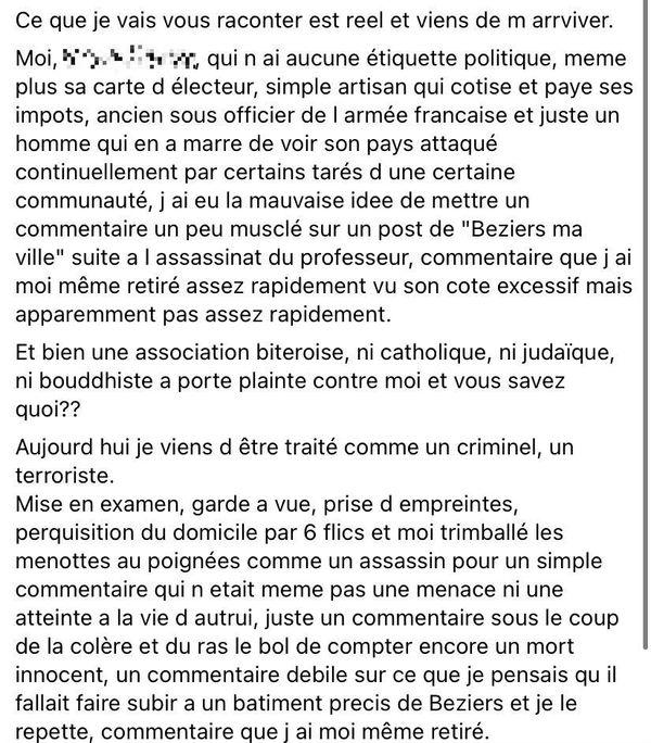 Ce message a été publié sur Facebook par l'auteur des menaces contre la mosquée de Béziers, un homme de 50 ans, après sa garde-à-vue.