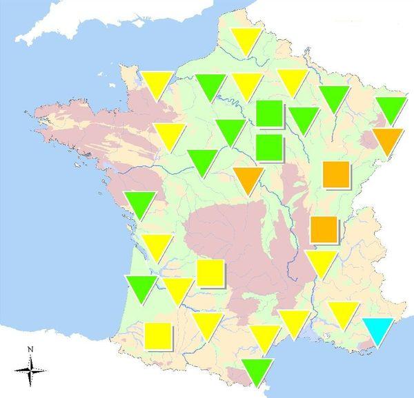 Le niveau des nappes phréatiques, au 1er juin 2019. En orange, les régions où les nappes sont à des niveaux bas, dont la Bourgogne Franche-Comté.