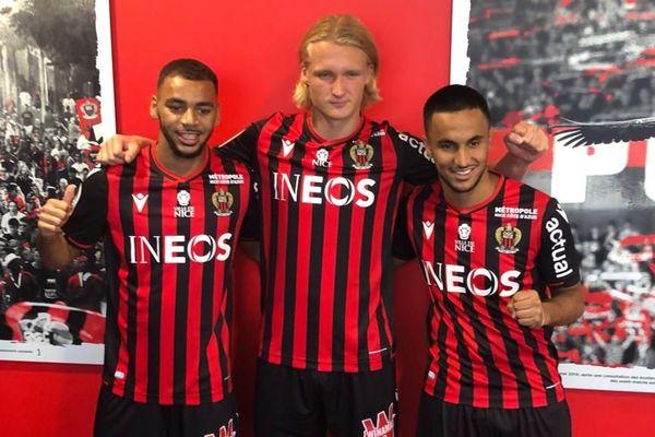 Présentation de Alexis Claude-Maurice, Kasper Dolberg et Adam Ounas (de gauche à droite) au centre d'entraînement de l'OGCNice, le 30 août 2019.