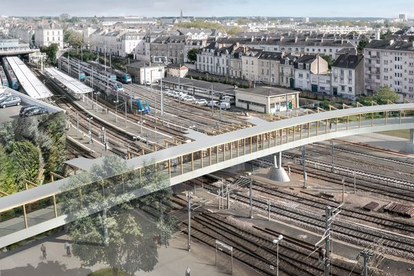 Future passerelle de la gare d'Angers pour relier le nouveau quartier d'affaire