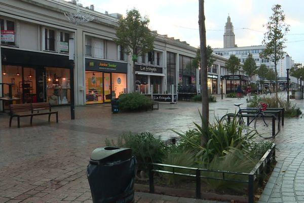 Commerces d'une rue piétonne du Havre (Seine-Maritime)