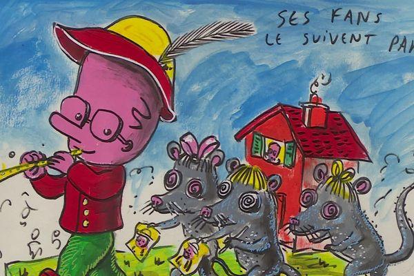 """Dessin de Patrick Moya pour le char du Carnaval de Nice 2018 - le Carnavalon (fils du roi et de la reine de canaval) """"un petit pan bagnat un grand pas pour l'humanité"""""""