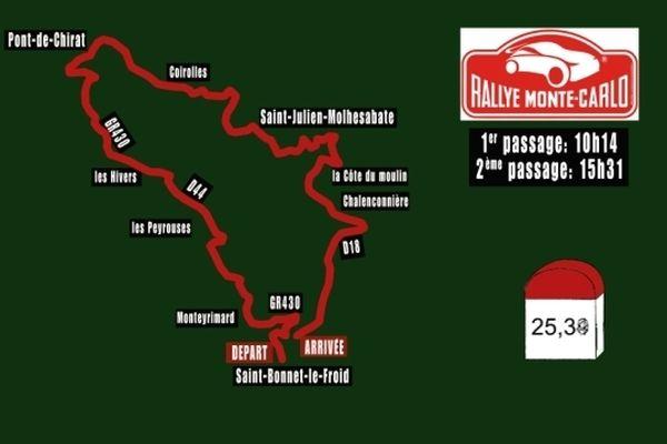 Le parcours de la spéciale du Monte-Carlo qui part jeudi 17 janvier de Saint-Bonnet-le-Froid (43)