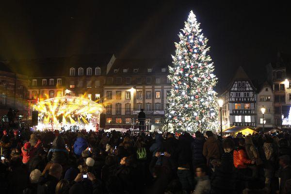 Le grand sapin de Noël 2014 est illuminé