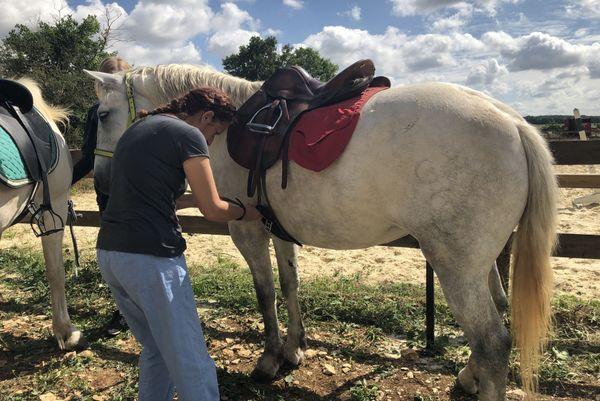 Nathalie n'a pas fait de cheval depuis une dizaine d'années. Mais visiblement, elle n'a pas perdu ses bons réflexes... Entre elle et Grupie, le courant passe bien.
