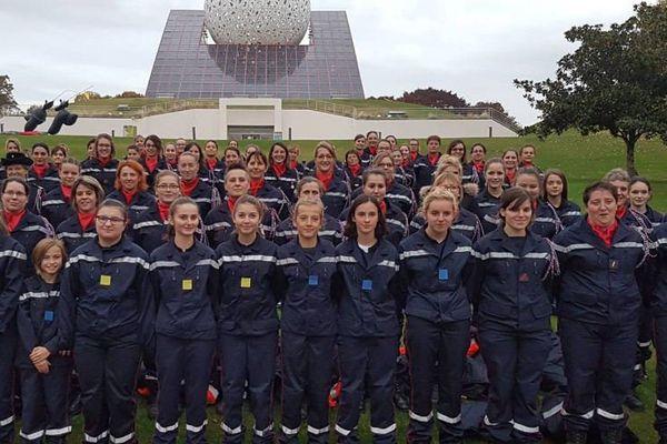1976/2016 : cérémonie des 40 ans de la féminisation du corps des sapeurs-pompiers au Futuroscope.