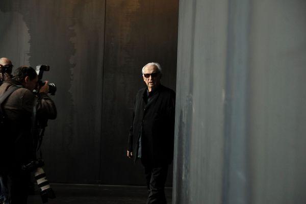 Pierre Soulages dans son musée à Rodez le 11 avril 2014.
