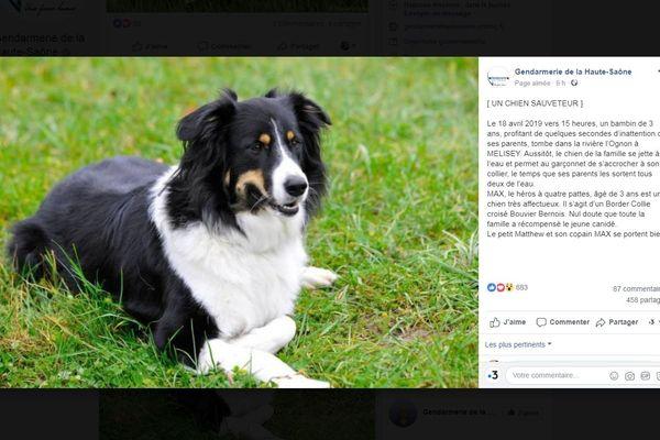 Post Facebook de la Gendarmerie de Haute-Saône