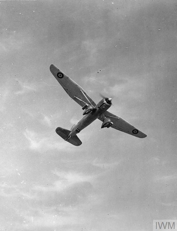 Un Westland Lysander en vol après son décollage de la base aérienne d'Hawkinge, dans le sud-est de l'Angleterre (photo non datée).