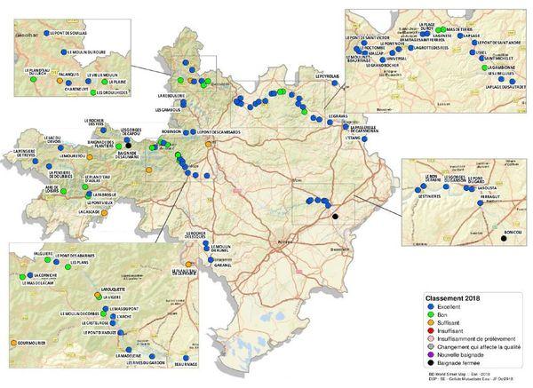Carte de la qualité des eaux de baignade en eau douce dans le Gard.