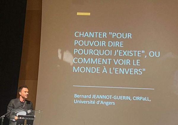 Bernard Jeannot-Guérin enseignant à l'ACO et l'Université d'Angers pendant une des tables rondes du colloque Starmania le 7 octobre 2021 à Angers