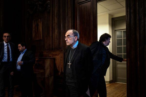Le Cardinal Barbarin en janvier 2020 lors d'une conférence de presse