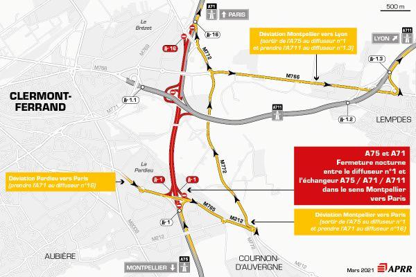 Fermetures de l'A71 et de l'A75entre le diffuseur n°1 Pardieu et l'échangeur A75/A71/A711 dans le sens Montpellier vers Paris.