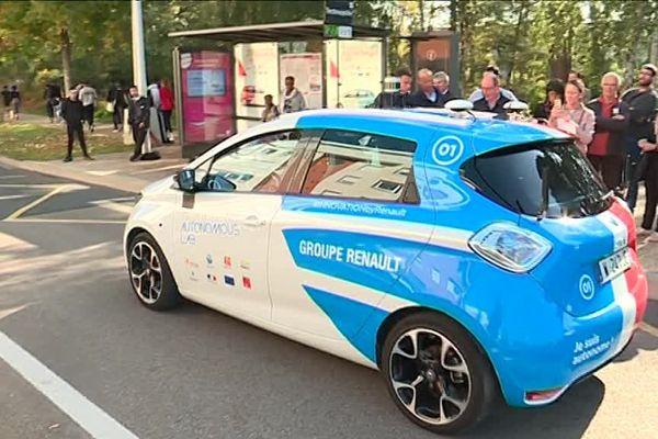 Un seul véhicule autonome a été testé, mercredi 17 octobre 2018, au technopôl du Madrillet, à Saint-Etienne-du-Rouvray