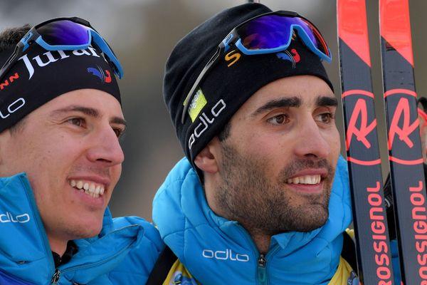 Quentin Fillon-Maillet et Martin Fourcade à Rasen-Antholz ce 15 février 2020.