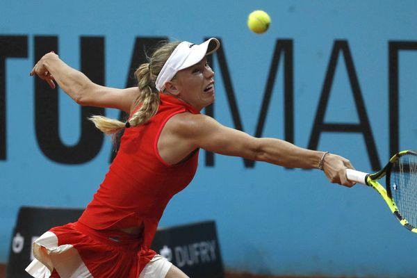 Caroline Wozniacki lors d'un match contre Carla Suárez lors du Mutua Madrid Open en mai 2017