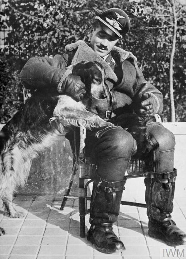 """Adolf Galland, en tenue d'aviateur, avec sa chienne Schweinebauch (""""poitrine de porc"""" en allemand...) sur la terrasse de la maison du Colombier qui lui servait de QG à Audembert."""