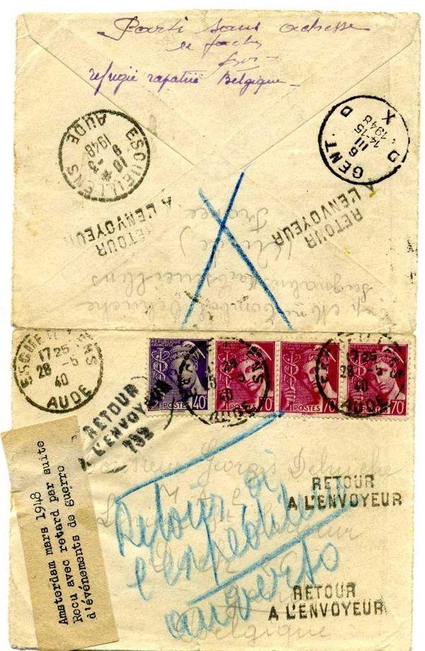 Un courrier qui a pris son temps. Parti en 1940, arrivé en 1948.