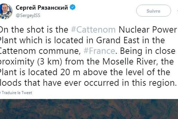 C'est par un Tweet que le cosmonaute russe Sergueï Nikolaïevitch Riazanski a diffusé cette photographie de 2017, de Cattenom, vue de l'espace, le 24 janvier 2019.