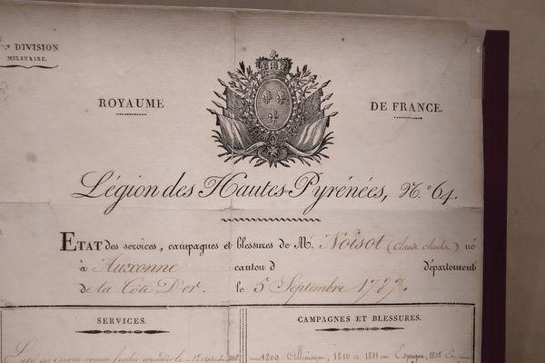 Etat des services du grenadier Claude Noisot