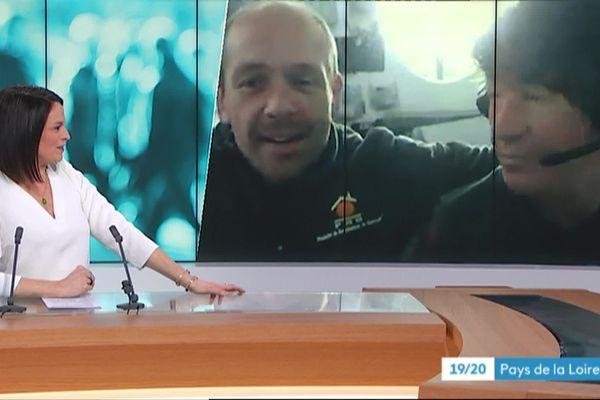 Kevin Escoffier et Jean Le Cam en duplex dans l'édition régionale de France 3 Pays de la Loire