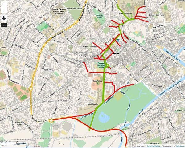En vert: le tracé du défilé. En rouge: les axes où la circulation sera fermée