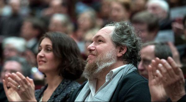 MAthias Enard, à Leipzig, en Allemagne, en 2017, lors de la réception d'un prix littéraire