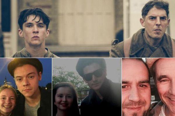 Quelques acteurs présents à Dunkerque pour le tournage : Fionn Whitehead et Damien Bonnard (en haut), Harry Styles (en bas à gauche), Aneurin Barnard (en bas au centre) et Mark Rylance (en bas à droite)