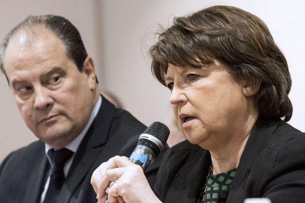 Jean-Christophe Cambadélis et Martine Aubry en janvier 2015.