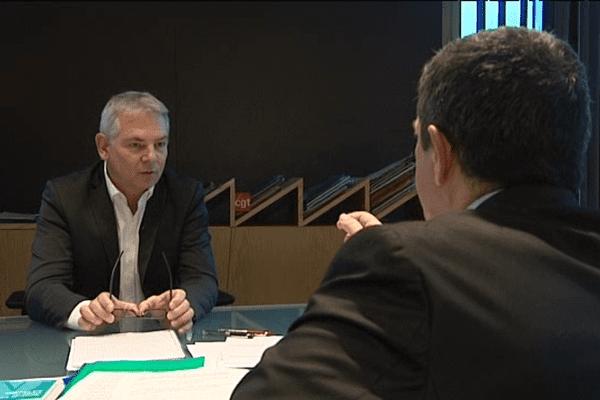 Le secrétaire général de la CGT, Thierry Lepaon, a répondu ce jeudi aux question de Franck Besnier de France 3 Basse-Normandie.