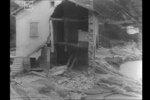 Image extraite d'un reportage diffusé en 1940 juste après les inondations du Roussillon / Aiguat del 1940, archivé par l'INA.