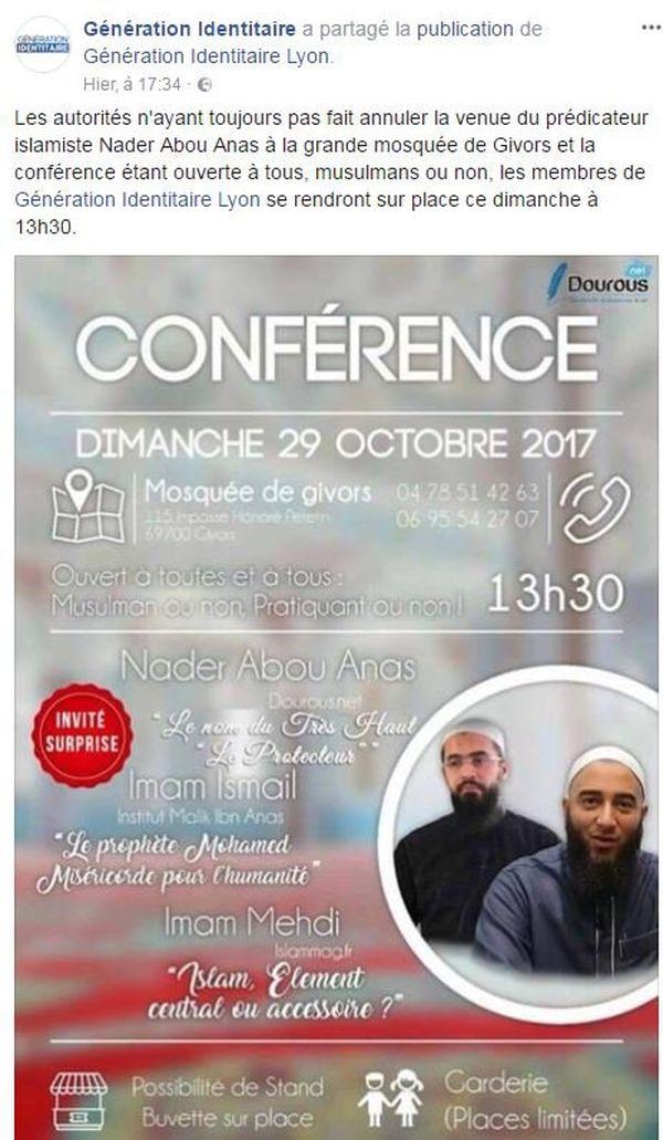 Sur le site facebook de Génération identitaire, l'annonce de leur présence à cette conférence