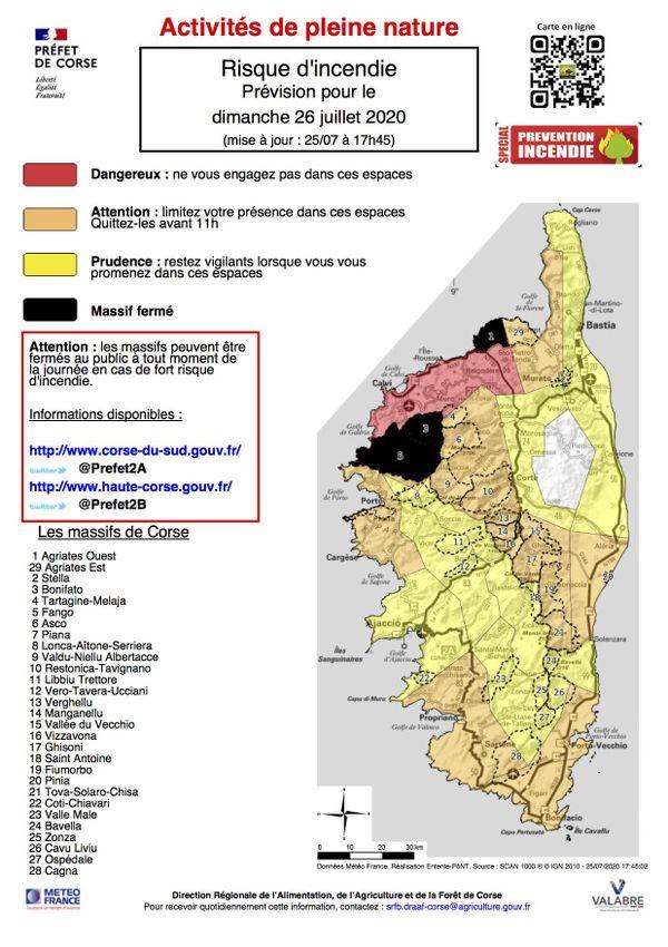 Les massifs de Bonifatu, Agriates Ouest et Fango sont interdits au publics pour la journée du dimanche 26 juillet.