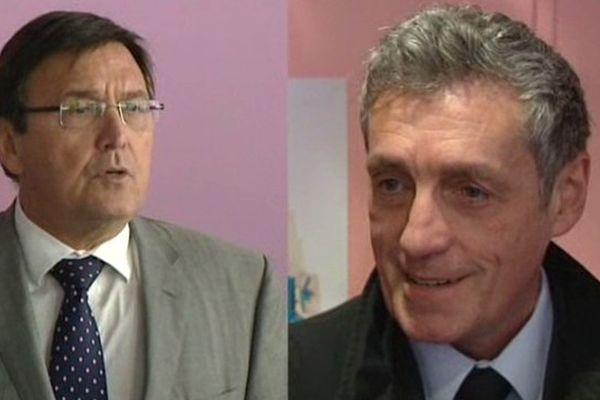 A gauche de la photo : le candidat UMP Jacques Domergue et à droite de l'écran : le Divers Gauche Philippe Saurel