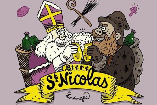 L'étiquette de la série limitée 2020 de la bière de la Saint-Nicolas, dessinée par l'artiste d'origine lorraine, Yan Lindingre.