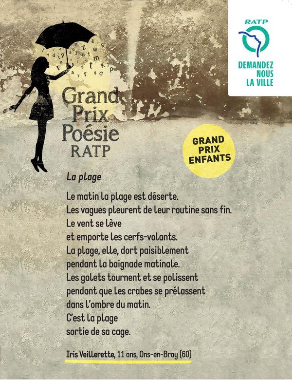 Le poème d'Iris, tel qu'elle sera affiché dans le métro de Paris.
