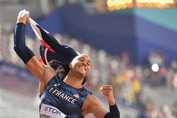 Pascal Martinot-Lagarde, après sa médaille de bronze à Doha, au Qatar.