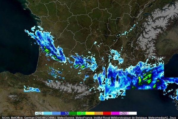 Intensité des précipitations sur le sud de la France lundi 1er avril 2013