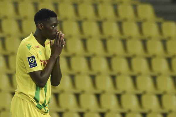 Kolo Muani, lors de la rencontre entre FC Nantes et MHSC le 23 mai 2021