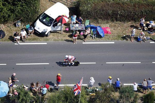 Tour de France 2013 sur la route entre Avrances et le Mont Saint Michel
