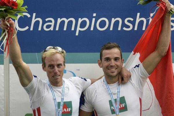 Stany Delaire et Jérémy Azou, lors des Championnats du monde à Aiguebelle