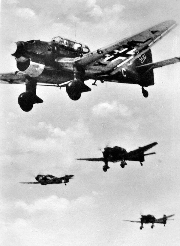 Des Stukas allemands photographiés en 1940.