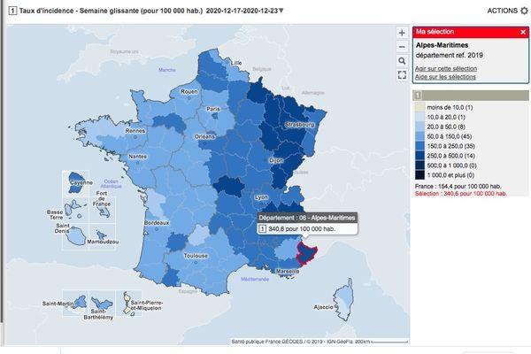 COVID 19 : situation épidémique en France (26/12/2020)