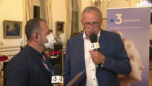 Patrick Weiten interrogé par Fabrice Rosaci lors de la soirée électorale de France 3 Lorraine.
