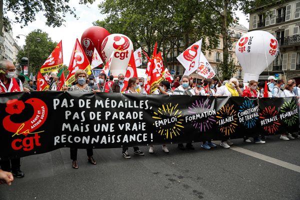 La CGT lors d'une manifestation organisée le 14 juillet dernier à Paris. Photo d'illustration