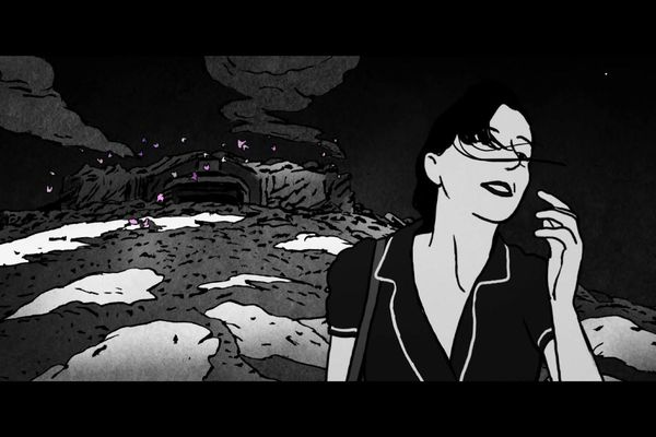 """Agathe, l'héroïne de """"La nuit des sacs plastiques"""", évolue dans un décor stylisé en noir et blanc."""
