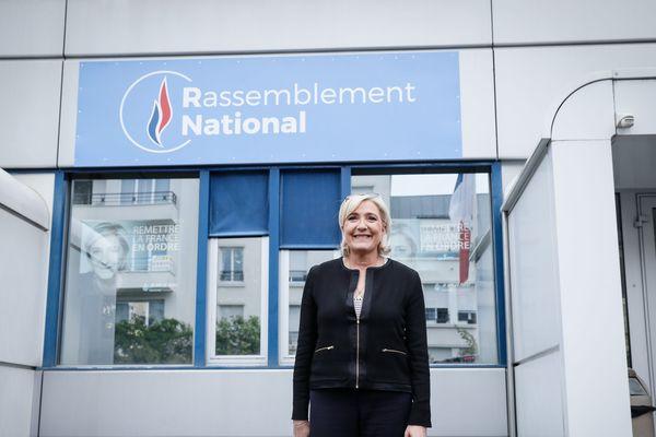14/06/2018. Nanterre, FRANCE. Marine Le Pen lors du lancement du forum sécurité du RN (ex- FN)