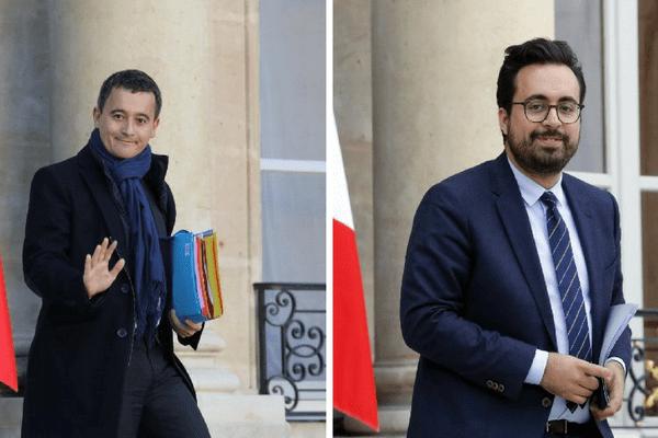 Gérald Darmanin (gauche), ministre de l'Action et des comptes publics, et le secrétaire d'État chargé du numérique Mounir Mahjoubi (droite) passeront la journée du  en Marne vendredi 24 novembre.