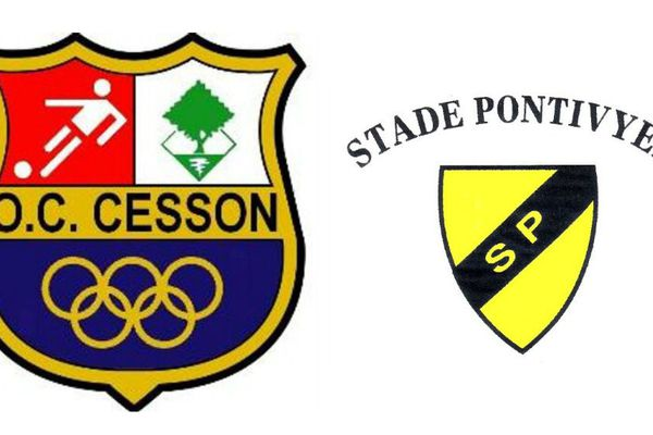 Les blasons des deux clubs OC Cesson et Stade Pontivyen